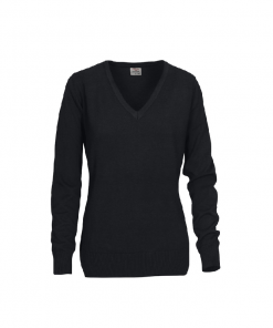 Printer knitted V-neck sweater Forehand Lady